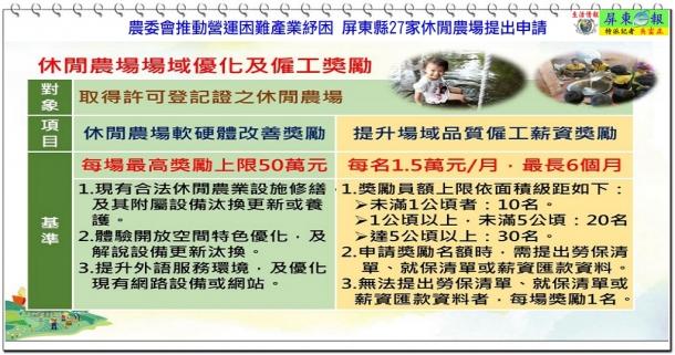 農委會推動營運困難產業紓困 屏東縣27家休閒農場提出申請