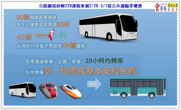 公路總局紓解228連假車潮2/26-3/1搭公共運輸享優惠@生活情報*雲傳媒
